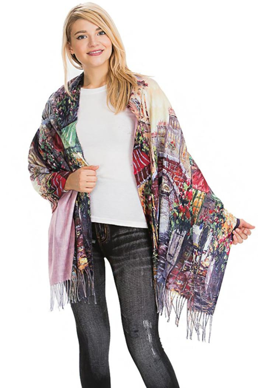 Nadya's Closet Floral Landscape Oil Paint Printed And Fringed Pashmina Felt Oblong Scarves - Main Image