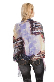 Nadya's Closet Floral Landscape Oil Paint Printed And Fringed Pashmina Felt Oblong Scarves - Front full body