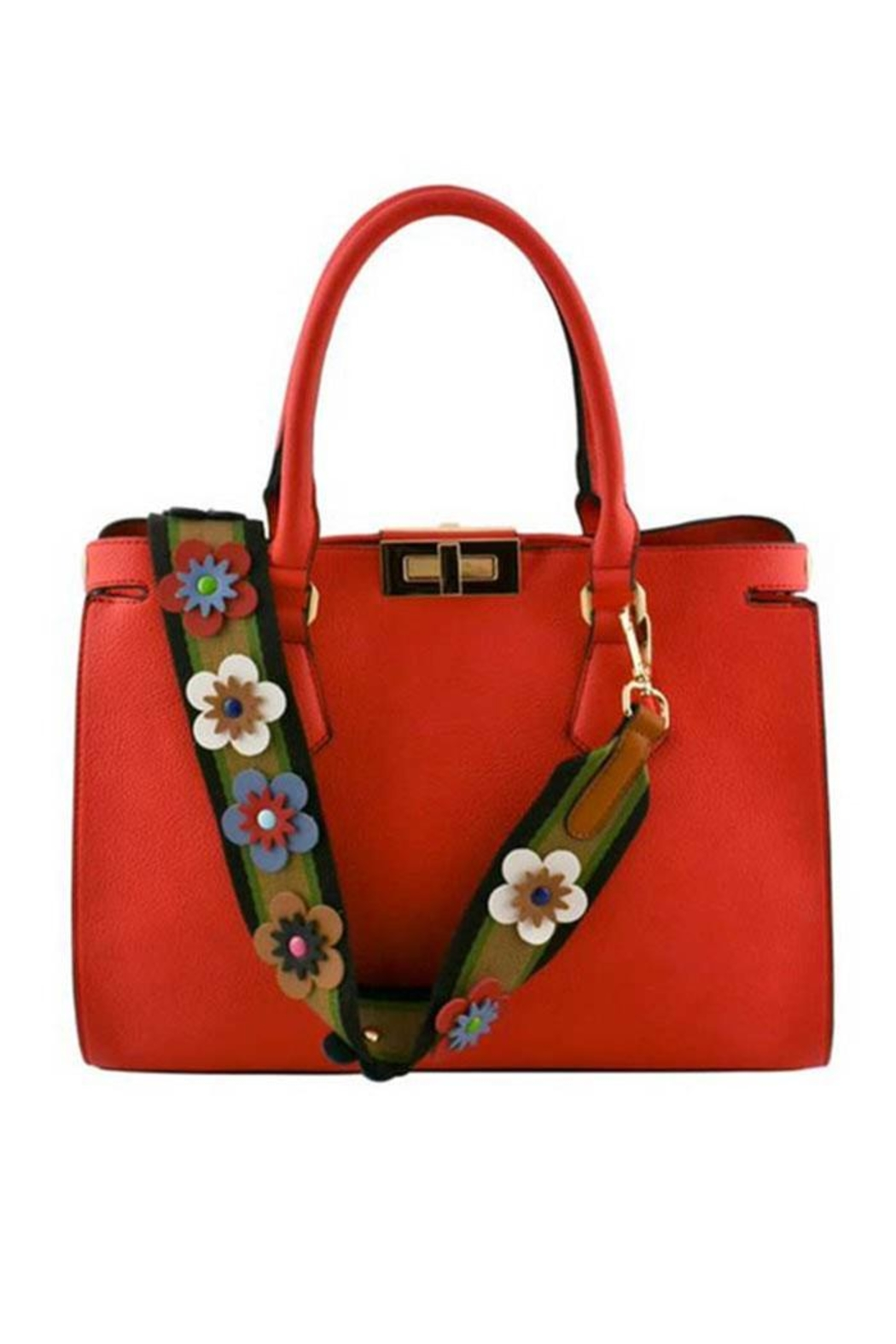 Nadya's Closet Floral Strap Tote Bag - Front Cropped Image