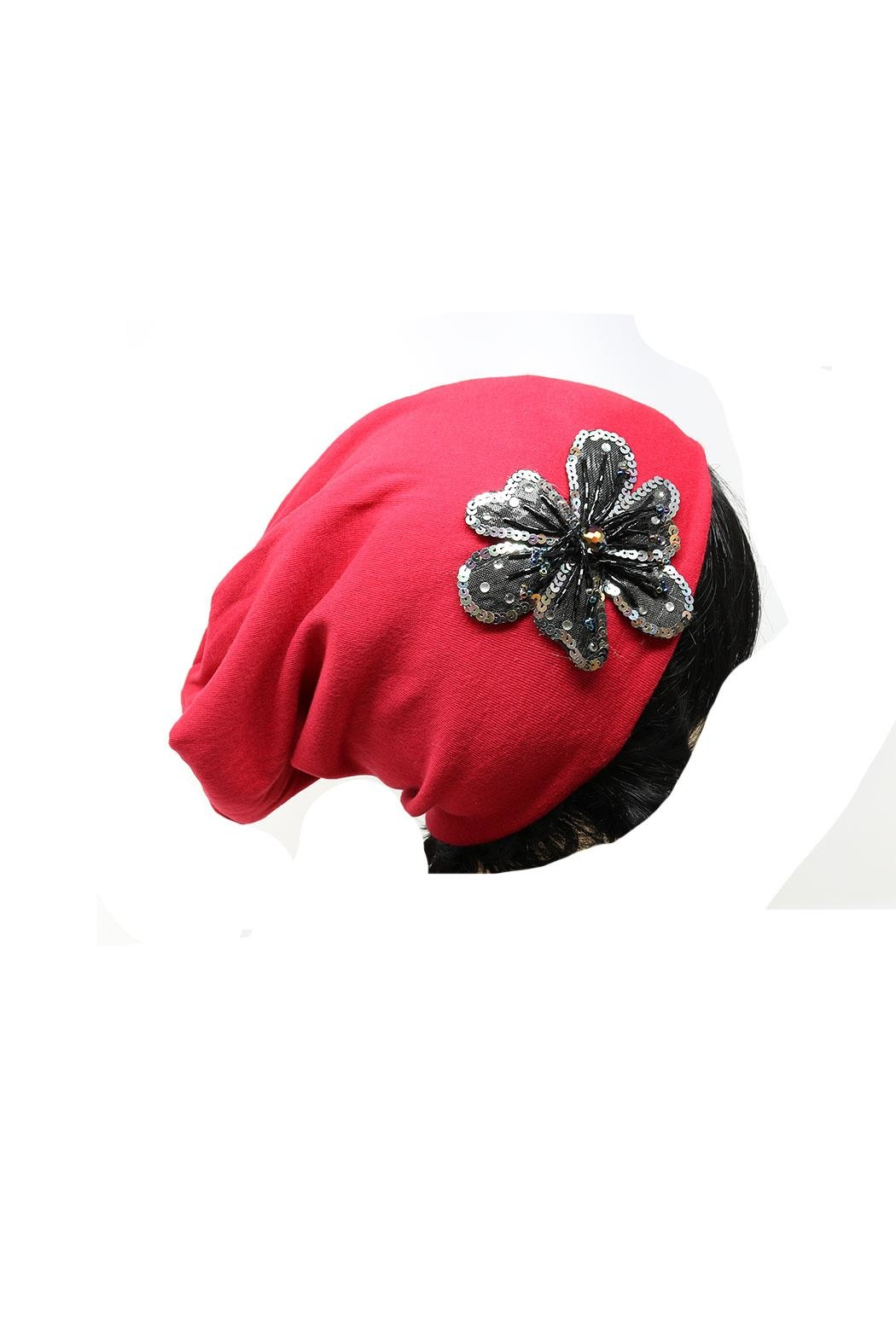 Nadya's Closet Flower Accent Beanie - Side Cropped Image