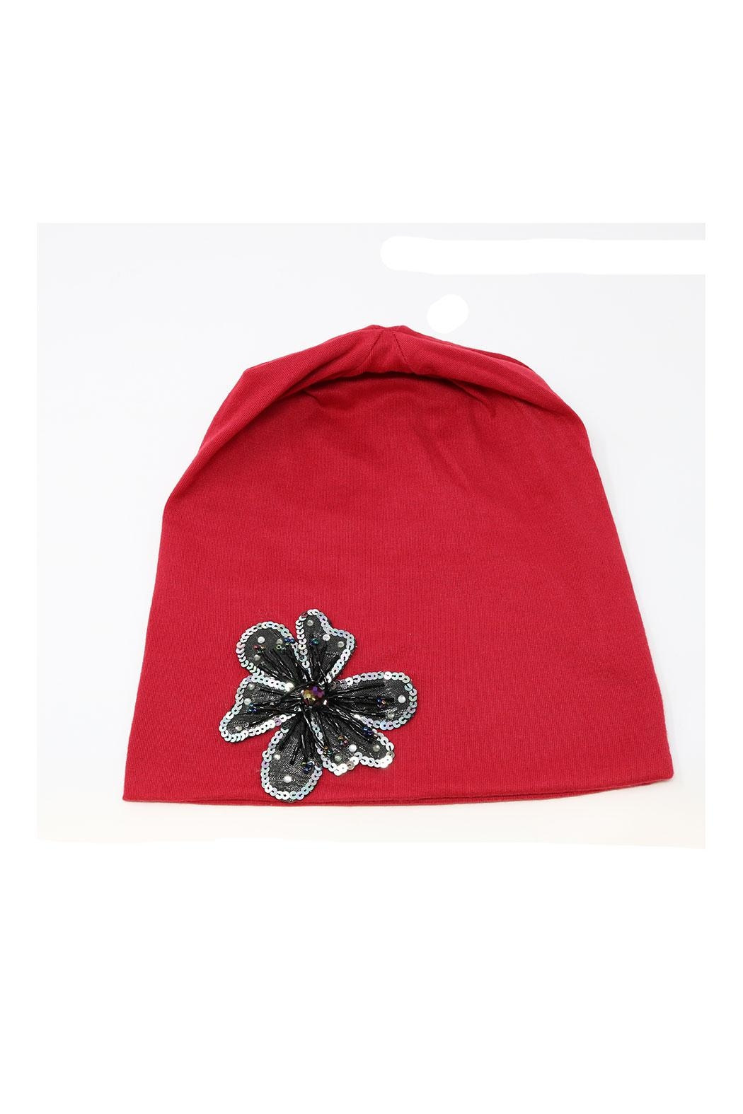 Nadya's Closet Flower Accent Beanie - Front Cropped Image