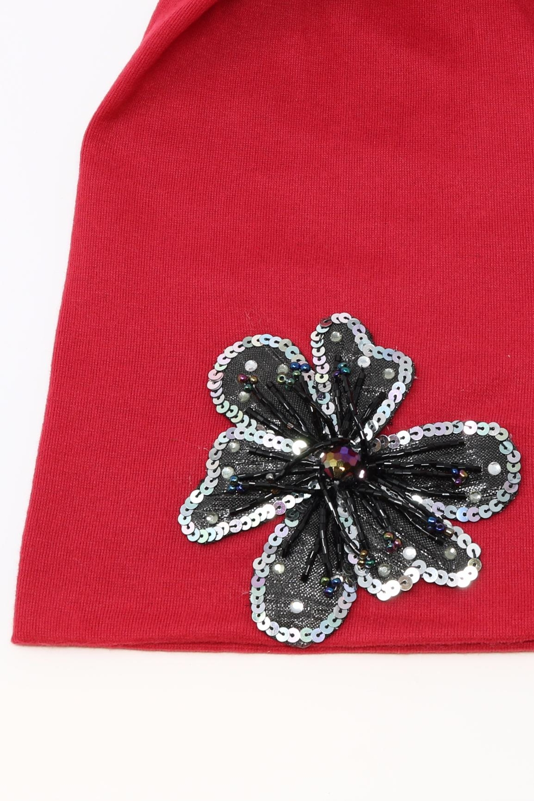 Nadya's Closet Flower Accent Beanie - Front Full Image