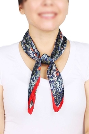 Nadya's Closet Flower Print Pleated Satin Scarf - Front cropped
