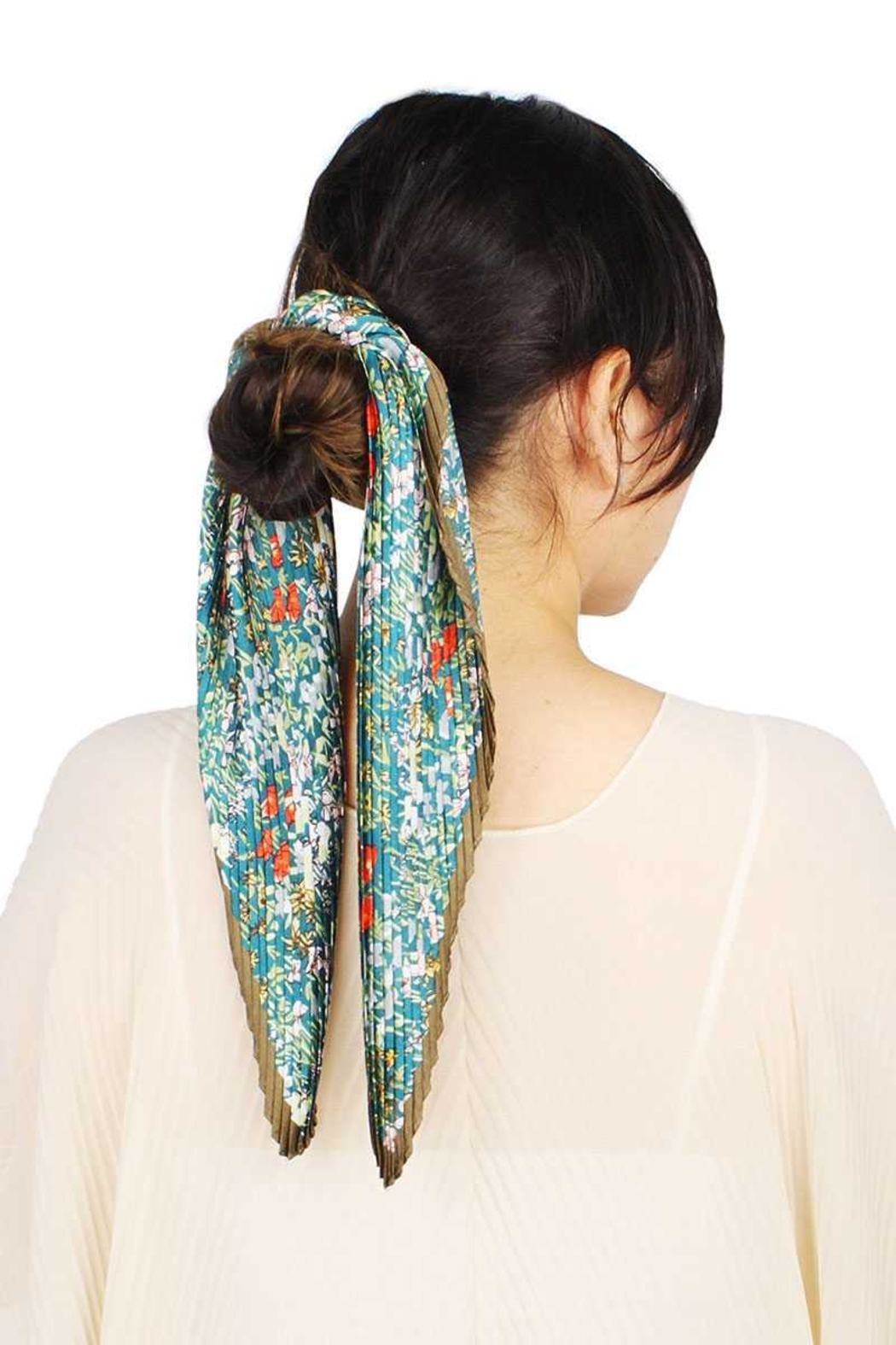 Nadya's Closet Flower Print Pleated Satin Scarf - Front Cropped Image