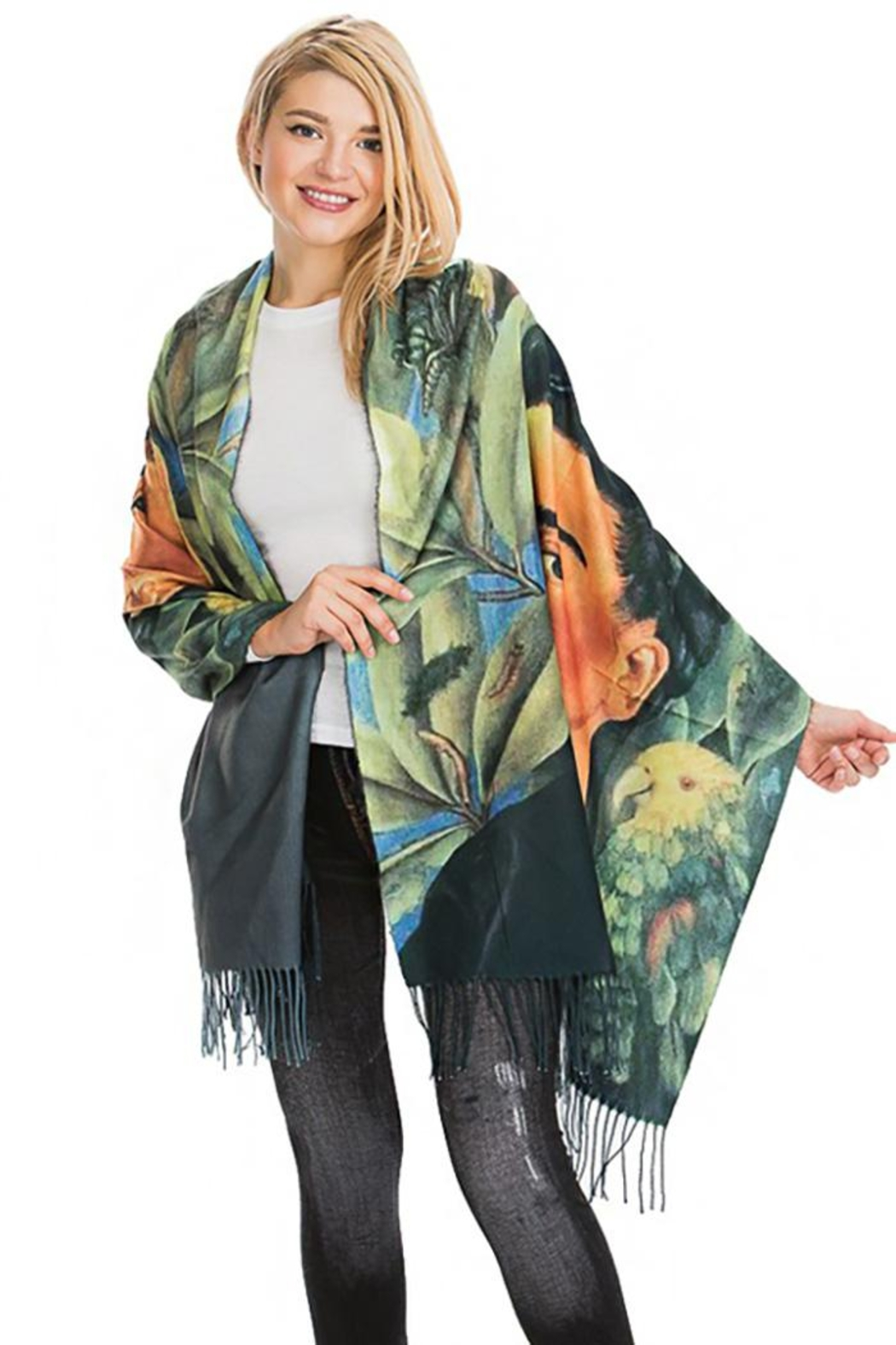 Nadya's Closet Frida Kahlo Leaves And Birds Oblong Scarf - Front Cropped Image