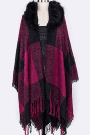 Nadya's Closet Fur Hooded Plaid-Shawl - Product Mini Image