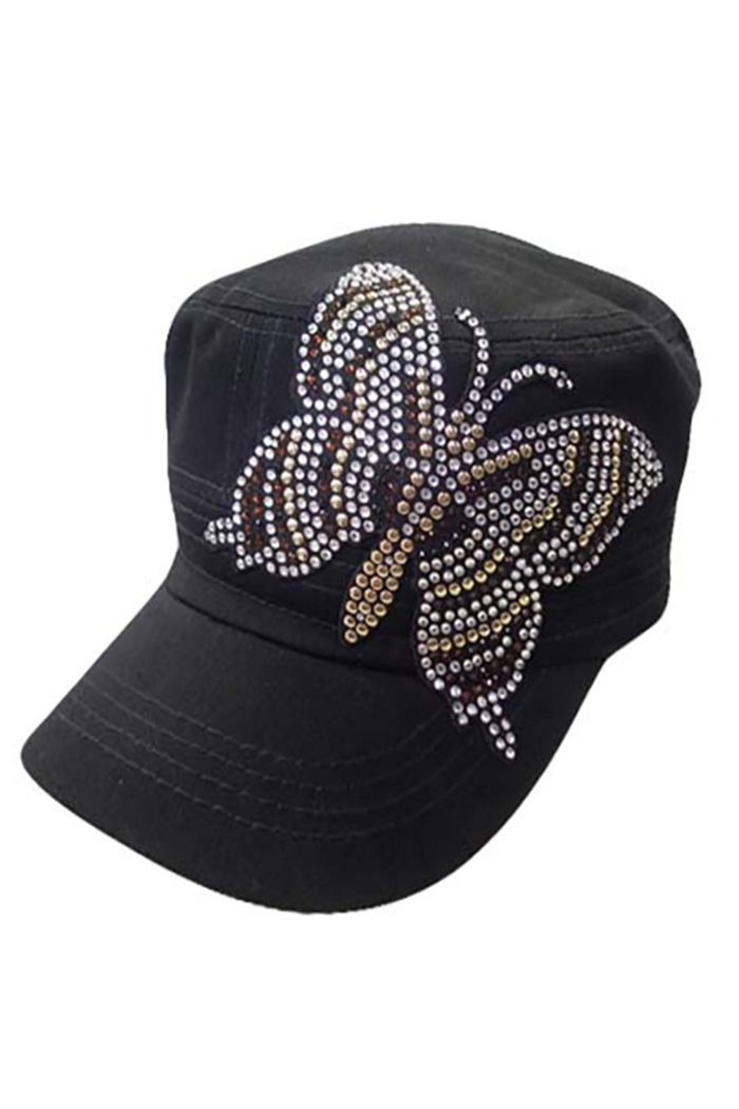 Nadya's Closet Golden Butterfly Rhinestone Cap - Front Cropped Image