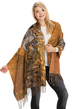 Shoptiques Product: Gustav Klimt Inspired Woman Printed And Fringed Scarf