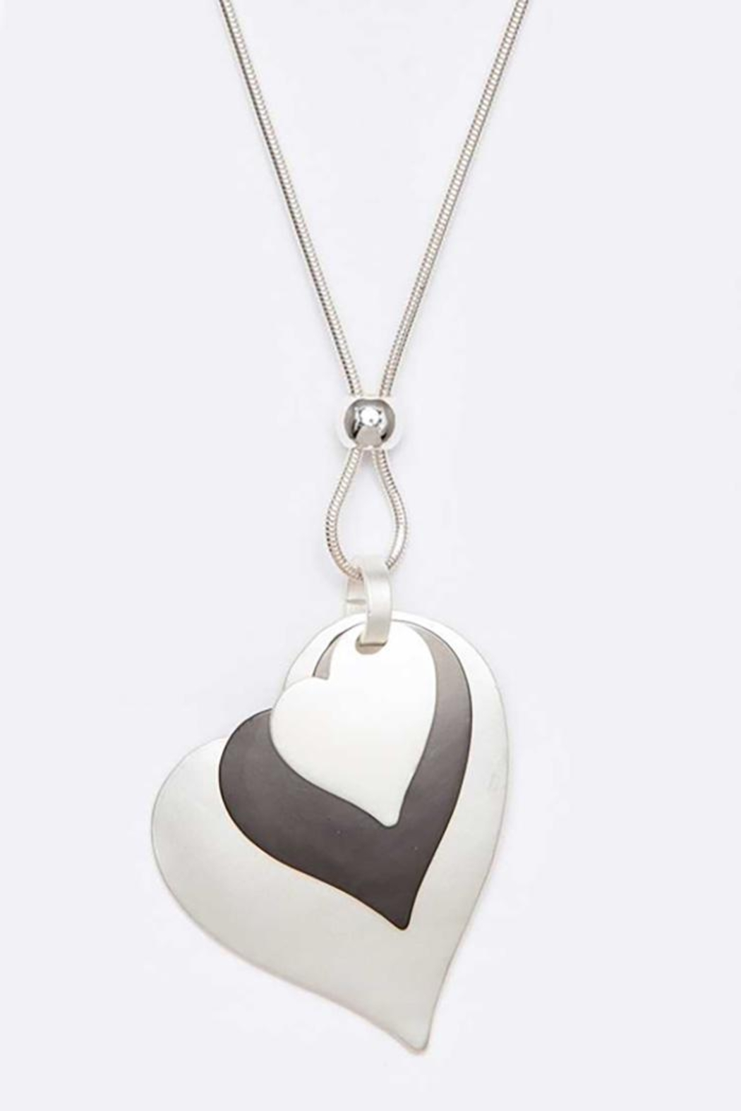 Nadya's Closet Heart Blush Metal Pendant Necklace - Front Cropped Image