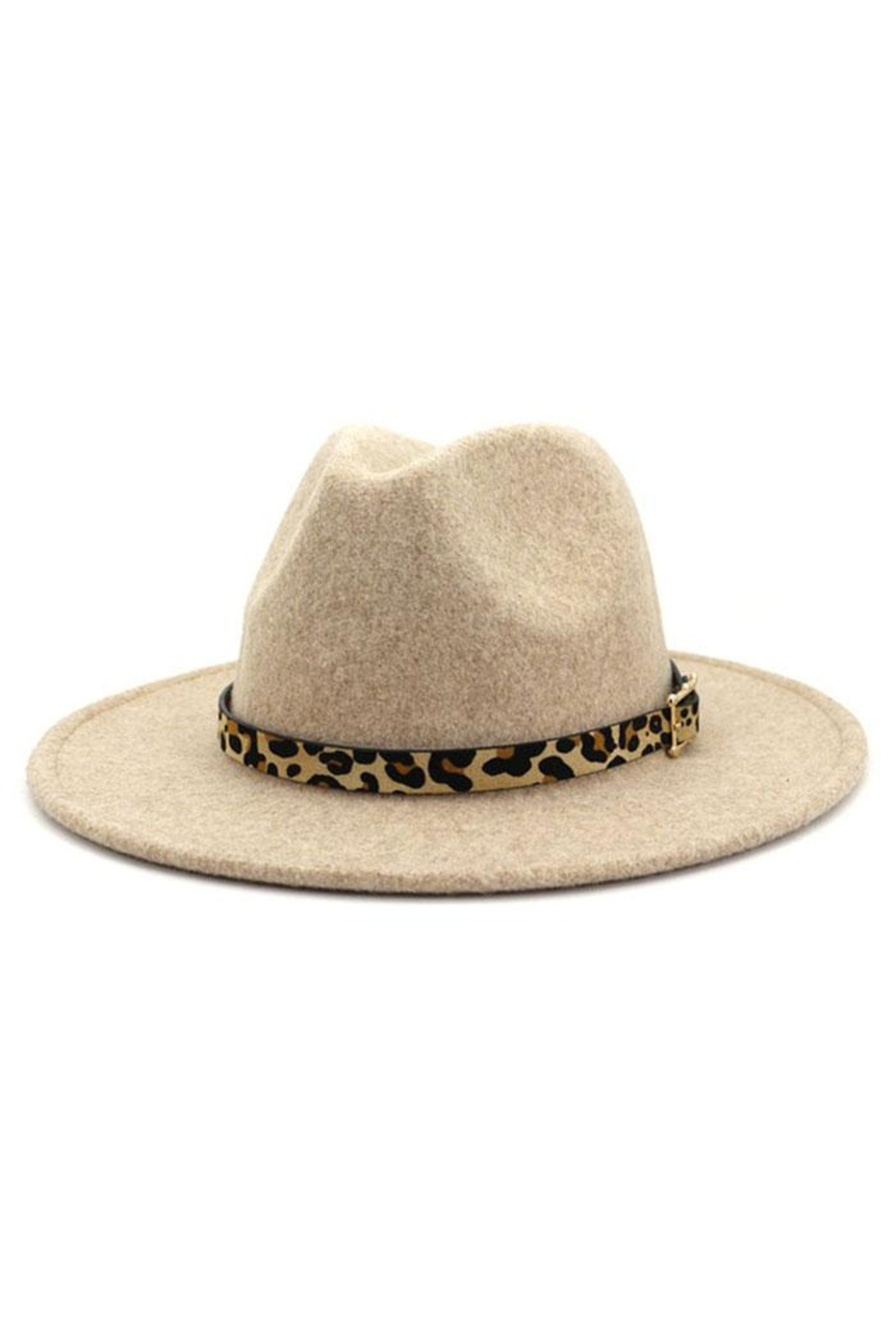 Nadya's Closet Leopard Belt Buckle Trendy Panama Hat - Front Cropped Image