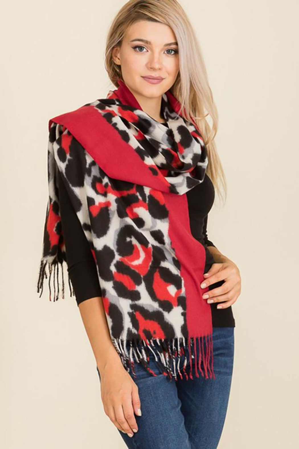 Nadya's Closet Leopard Print Felt Fringed Oblong Scarf - Front Cropped Image