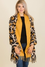 Nadya's Closet Leopard Print Felt Fringed Oblong Scarf - Front cropped