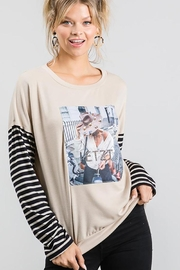 Nadya's Closet Long Sleeve Graphic Pullover Loose Sweat Shirt - Front cropped