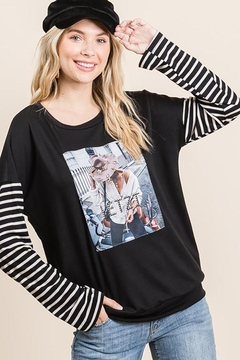 Shoptiques Product: Long Sleeve Graphic Pullover Loose Sweat Shirt