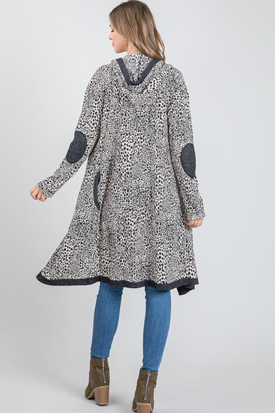 Nadya's Closet Long Sleeve Open Front Hooded Cardigan Sweater - Side Cropped Image