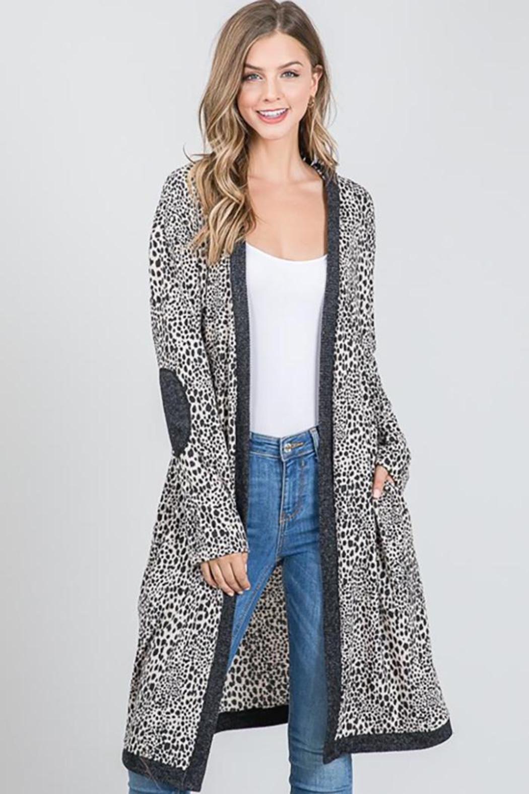 Nadya's Closet Long Sleeve Open Front Hooded Cardigan Sweater - Front Full Image