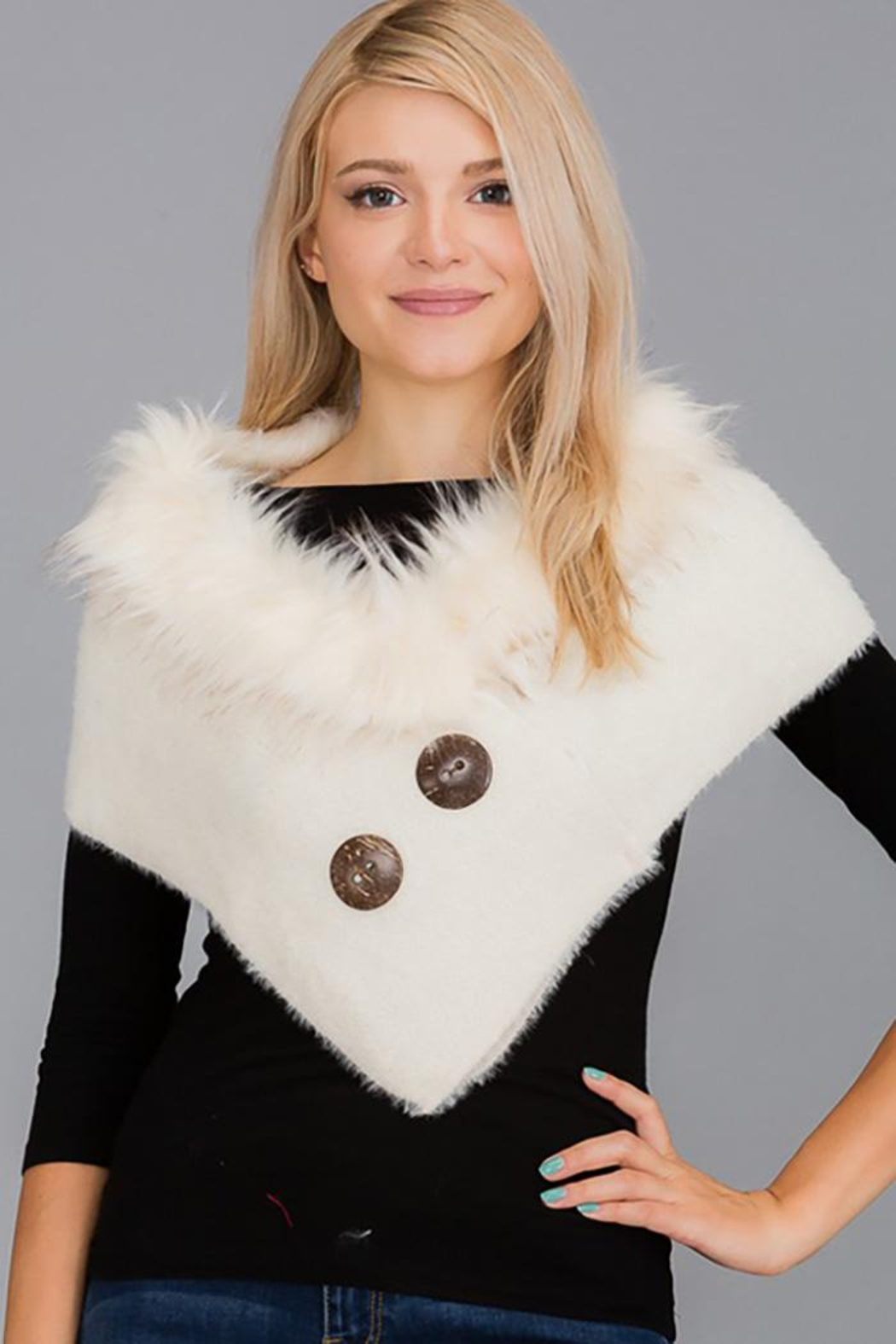 Nadya's Closet Luxury Faux Fur Trimmed V-Neck Knit Winter Scarves - Main Image