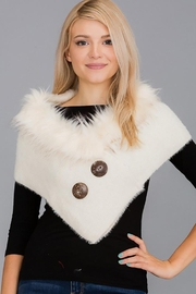 Nadya's Closet Luxury Faux Fur Trimmed V-Neck Knit Winter Scarves - Front cropped