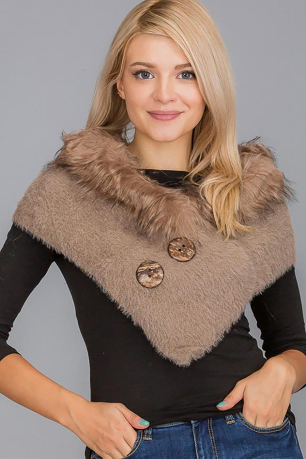 Nadya's Closet Luxury Faux Fur Trimmed V-Neck Knit Winter Scarves - Front Cropped Image