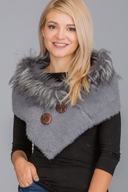 Nadya's Closet Luxury Faux Fur Trimmed V-Neck Knit Winter Scarves - Other