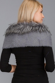 Nadya's Closet Luxury Faux Fur Trimmed V-Neck Knit Winter Scarves - Front full body