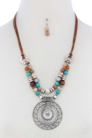 Nadya's Closet Metal Circle Beaded Necklace - Front cropped