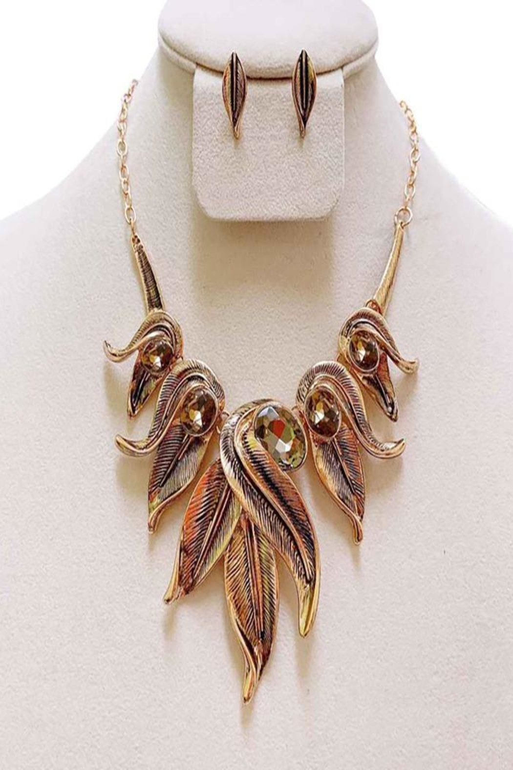 Nadya's Closet Metal Leaf Necklace Set - Front Cropped Image