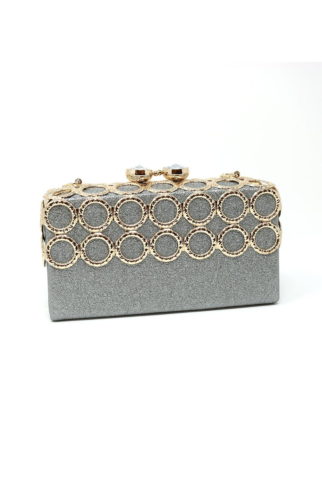 Nadya's Closet Metal Ring-Accent Clutch - Front Cropped Image