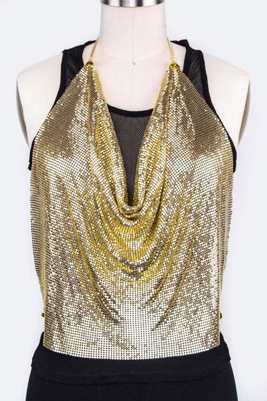 Nadya's Closet Metallic Halter Top - Front Cropped Image