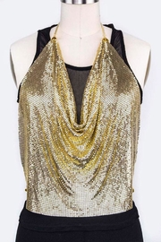 Nadya's Closet Metallic Halter Top - Front cropped