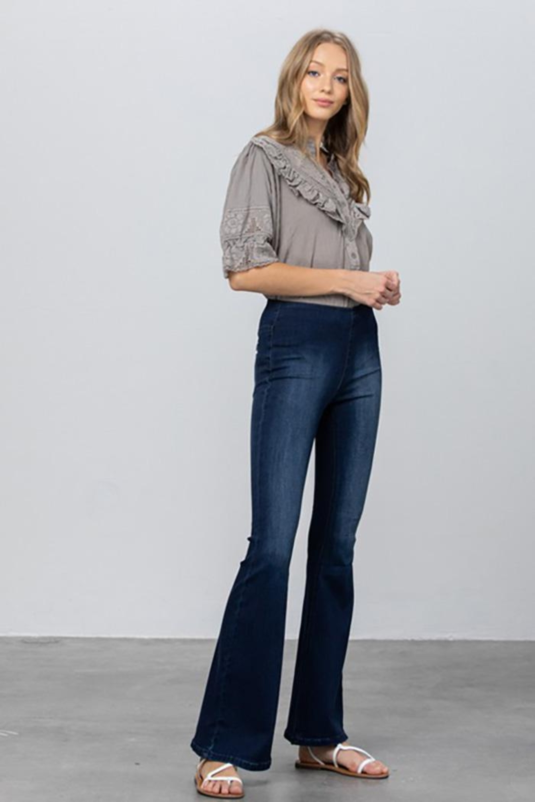 Nadya's Closet Mid Rise Banded Wider Flare Jeans - Back Cropped Image
