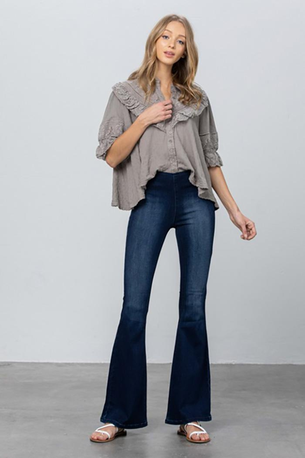 Nadya's Closet Mid Rise Banded Wider Flare Jeans - Main Image