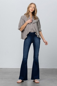 Shoptiques Product: Mid Rise Banded Wider Flare Jeans