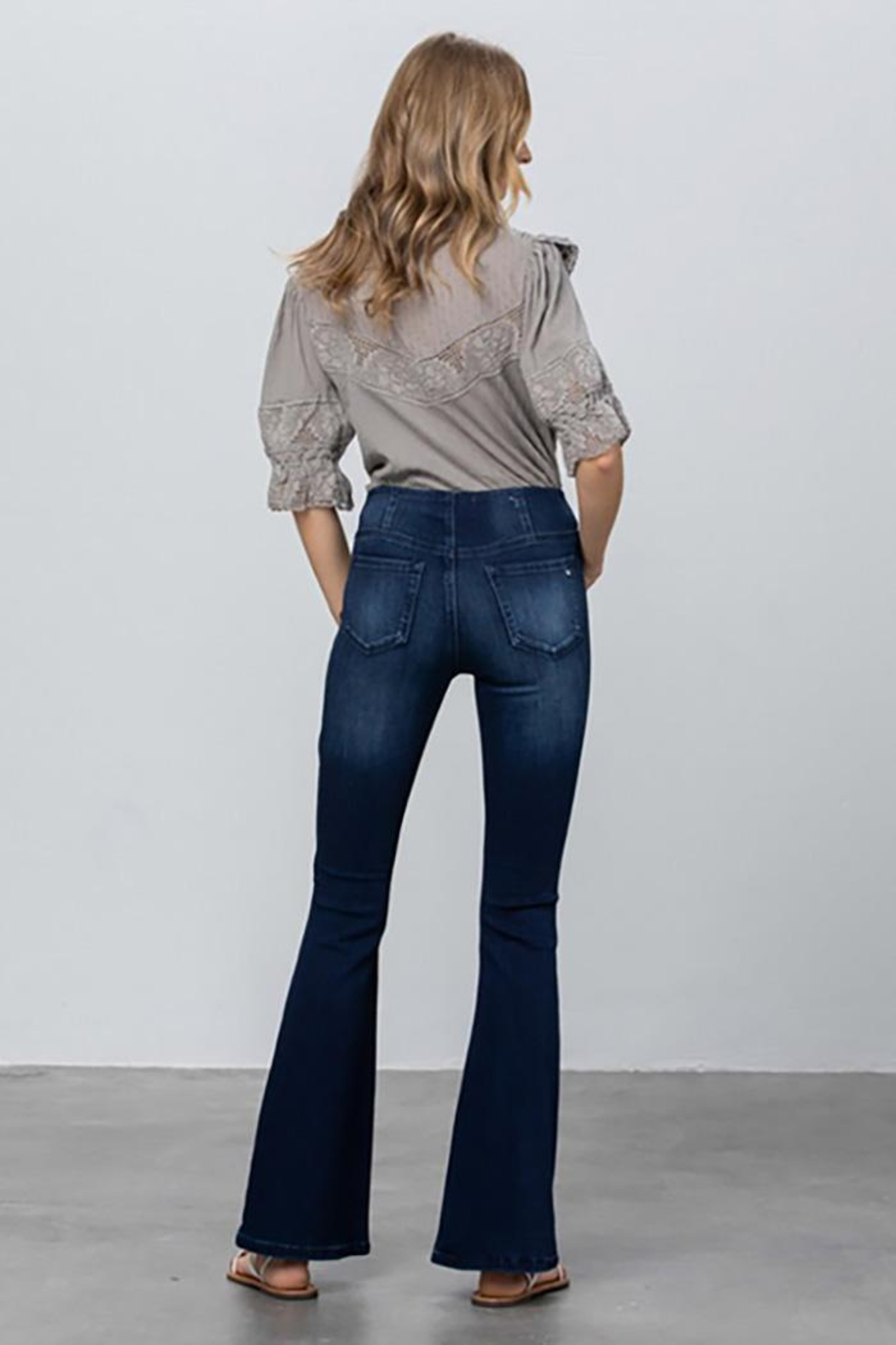 Nadya's Closet Mid Rise Banded Wider Flare Jeans - Side Cropped Image