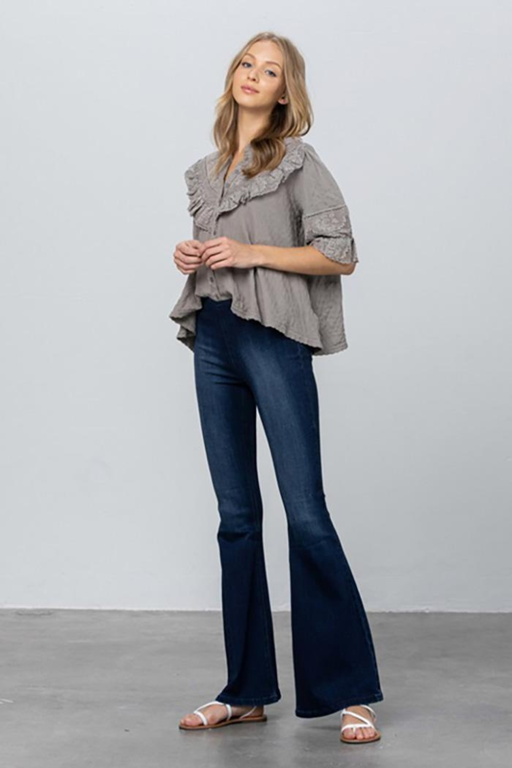 Nadya's Closet Mid Rise Banded Wider Flare Jeans - Front Full Image