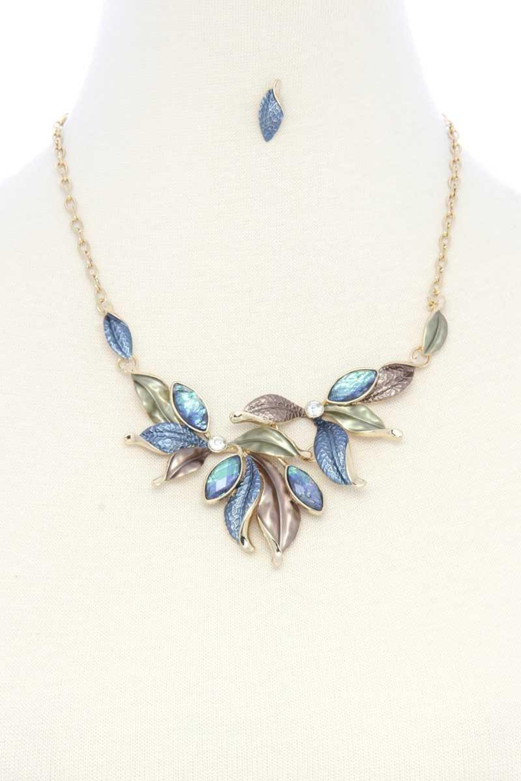 Nadya's Closet Multi Leave Matte Painted Metal Necklace - Main Image