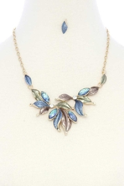 Nadya's Closet Multi Leave Matte Painted Metal Necklace - Front cropped