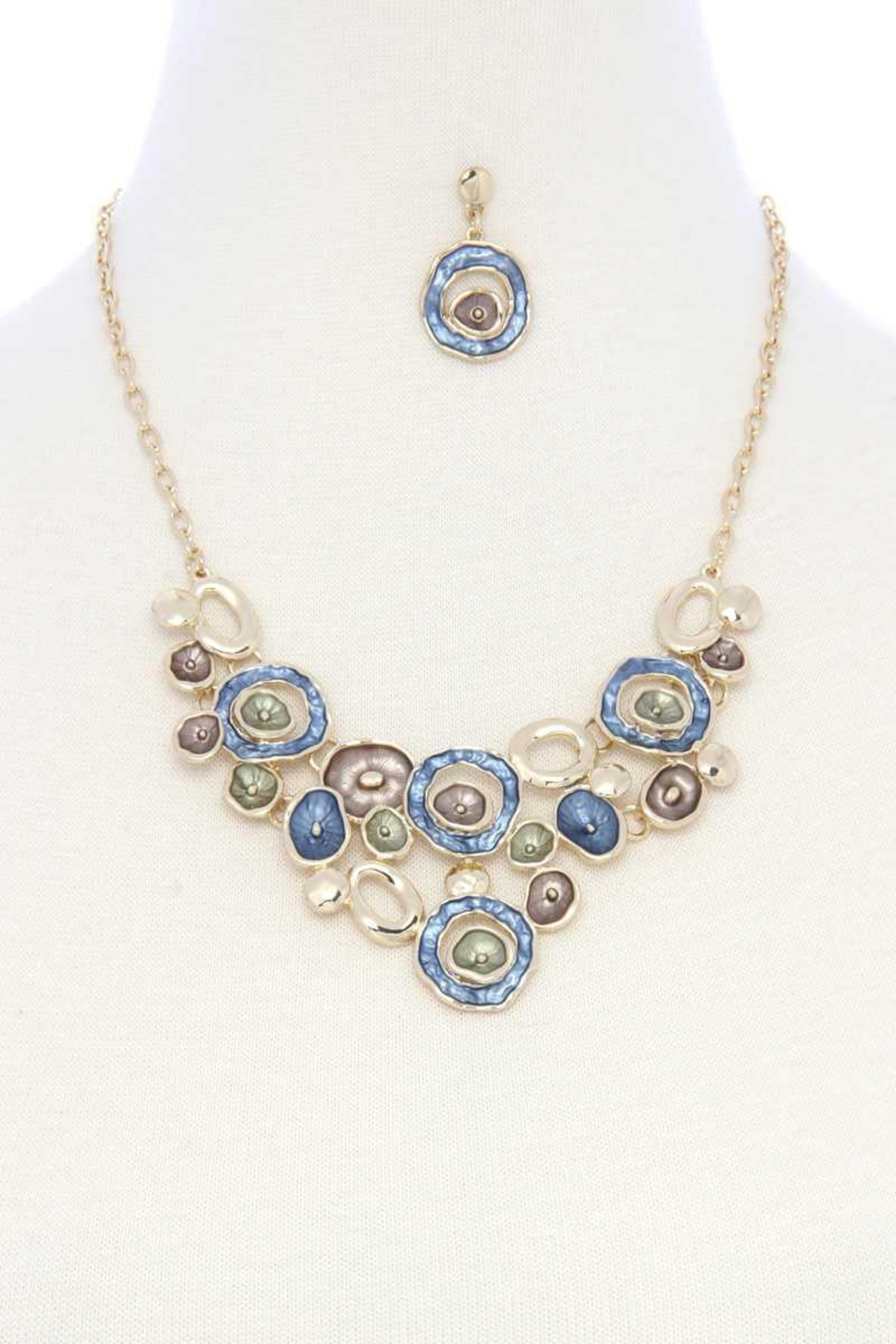 Nadya's Closet Mutli Circle Matte Painted Bib Necklace - Front Cropped Image