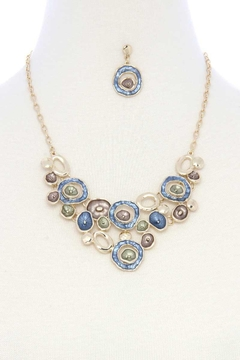 Shoptiques Product: Mutli Circle Matte Painted Bib Necklace