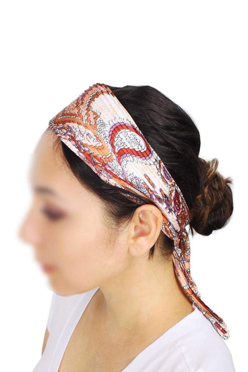 Nadya's Closet Paisley Print Pleated Satin Scarf - Front Cropped Image
