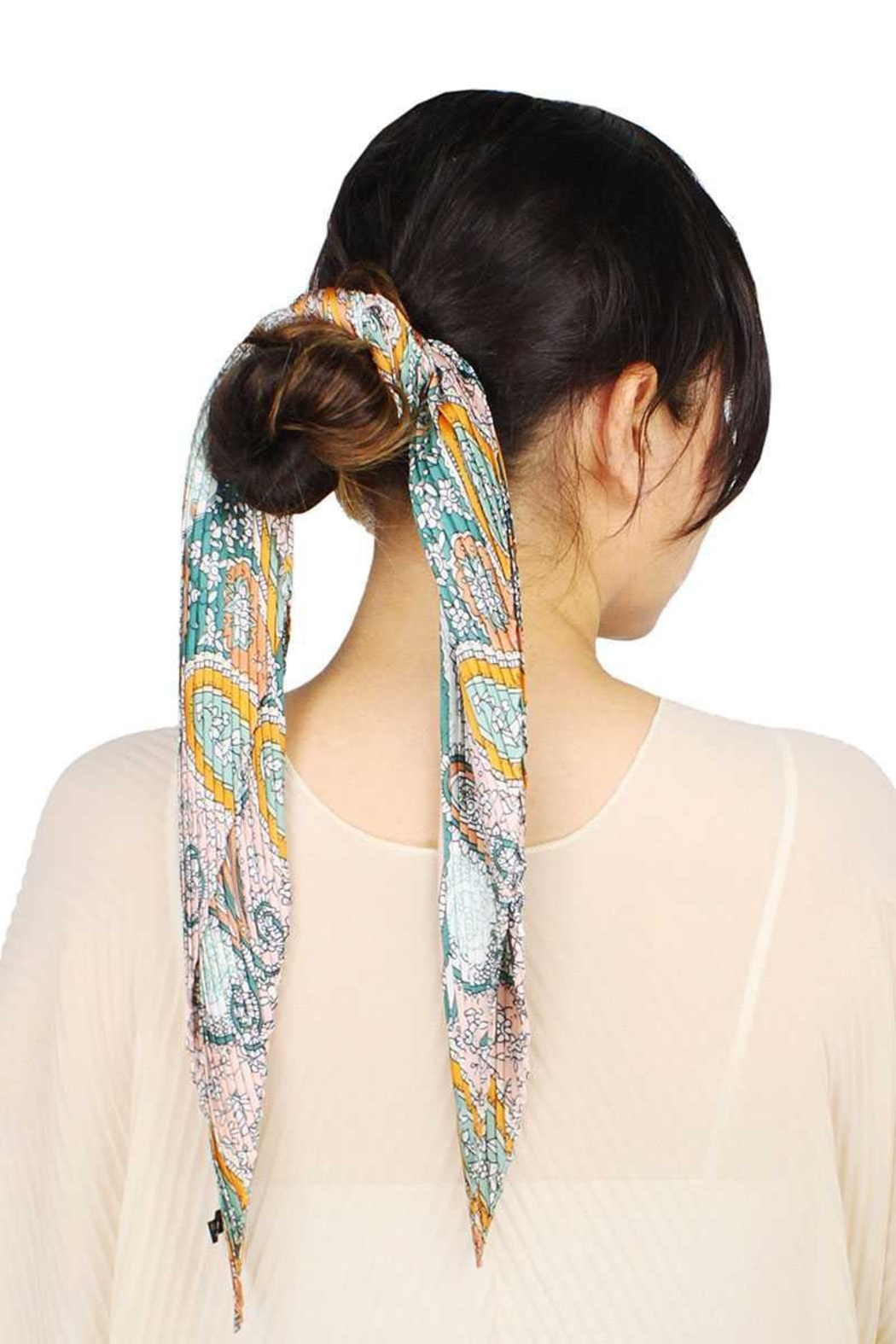 Nadya's Closet Paisley Print Pleated Satin Scarf - Main Image