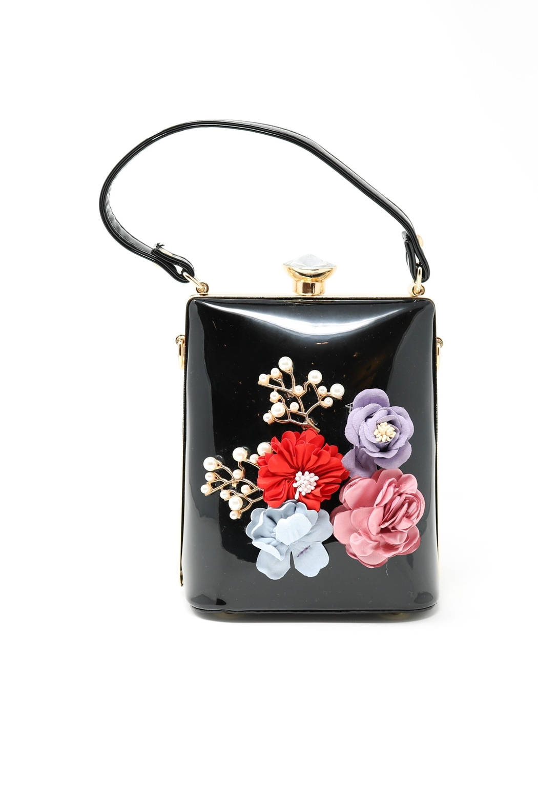 Nadya's Closet Patent Leather Floral Bag - Front Cropped Image