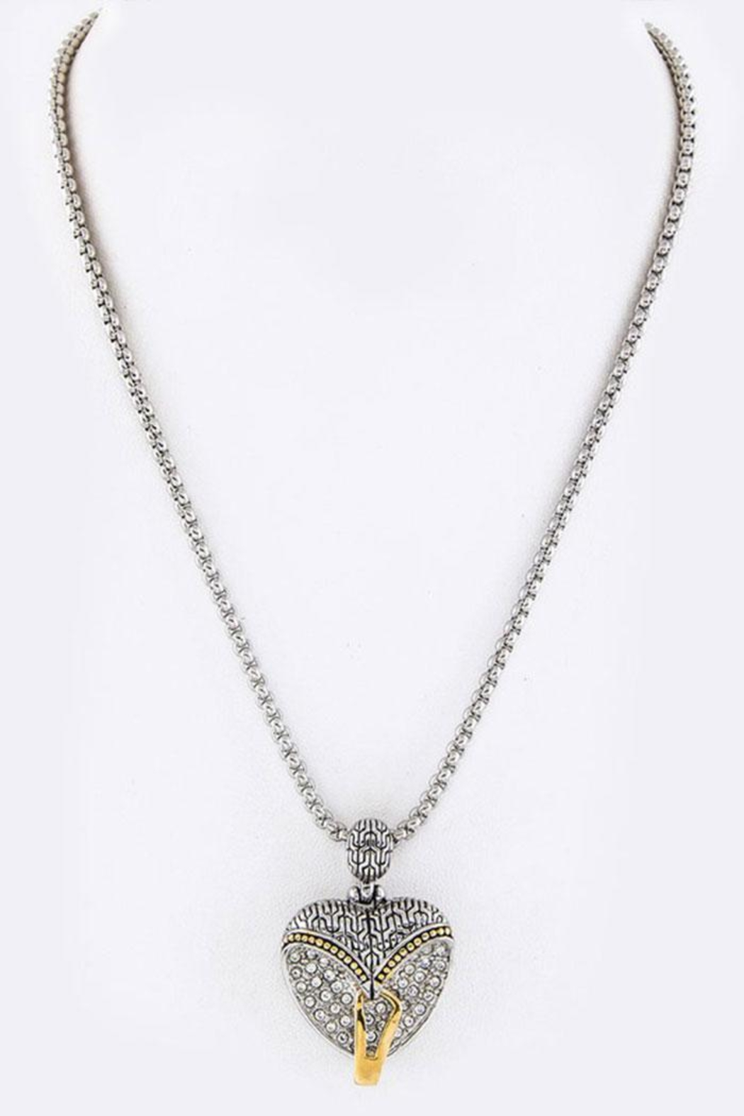 Nadya's Closet Pave-Crystals Heart Necklace - Front Full Image