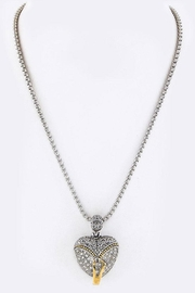 Nadya's Closet Pave-Crystals Heart Necklace - Front full body
