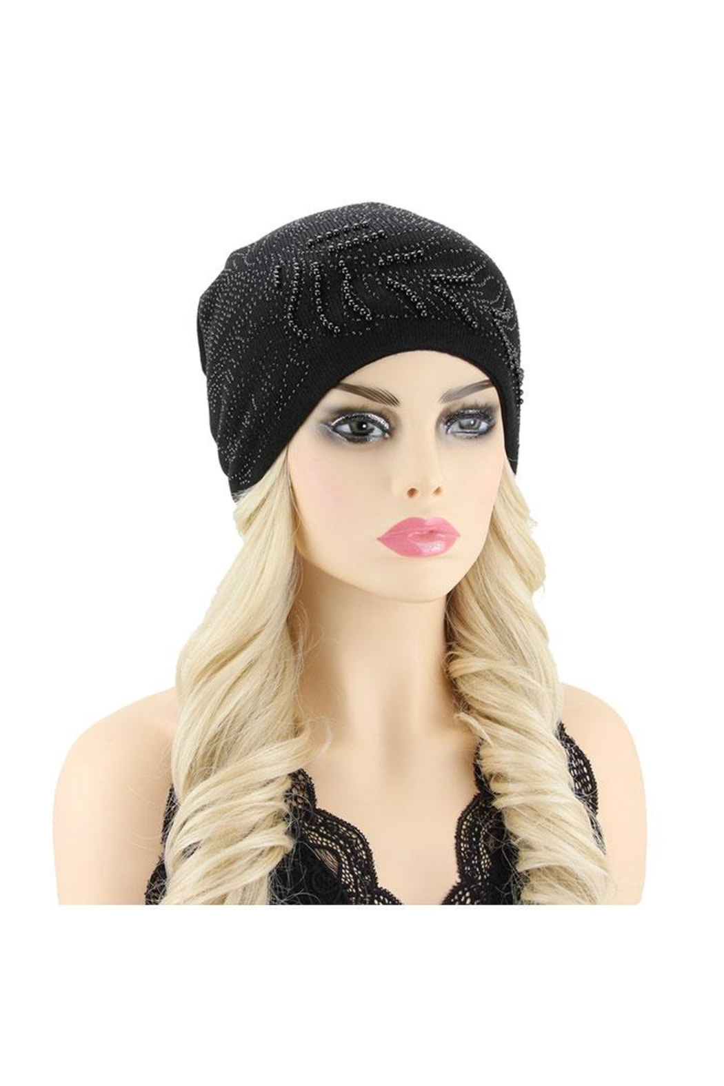 Nadya's Closet Peacock Feather Gem Beanie Hat - Front Cropped Image