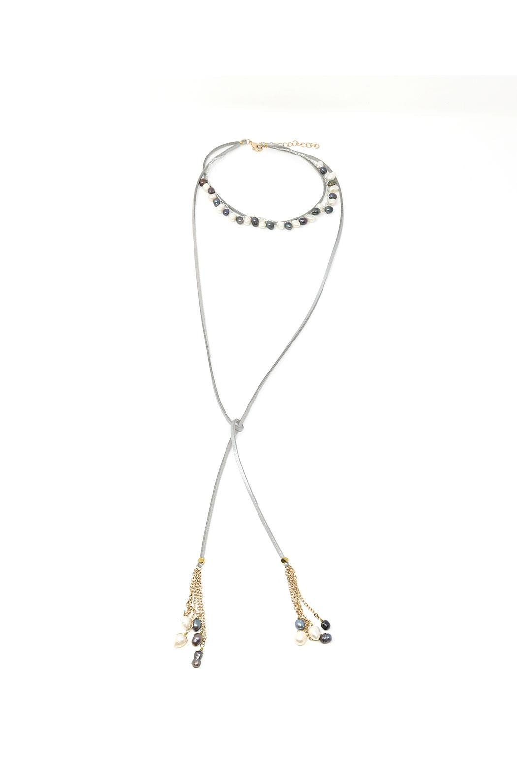 Nadya's Closet Pearl & Leather Choker Necklace - Main Image