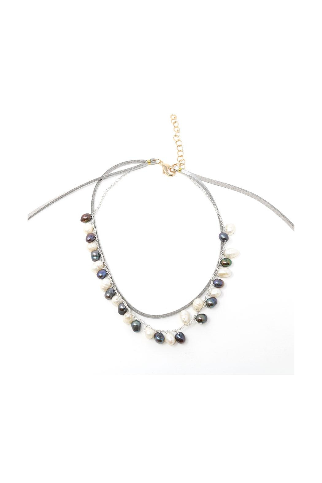 Nadya's Closet Pearl & Leather Choker Necklace - Side Cropped Image