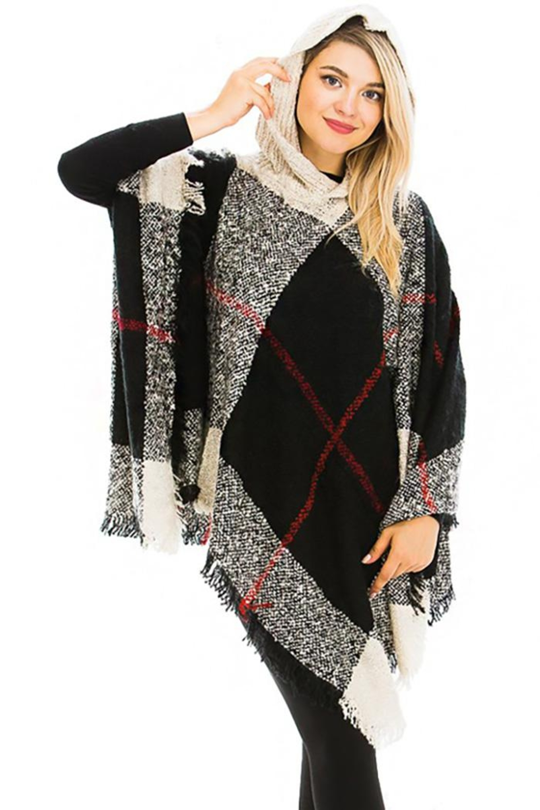 Nadya's Closet Plaid Pattern Thick Knitted With Hoodie Design Poncho - Main Image