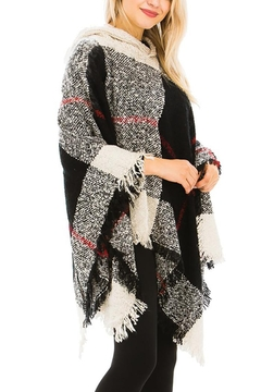 Nadya's Closet Plaid Pattern Thick Knitted With Hoodie Design Poncho - Alternate List Image