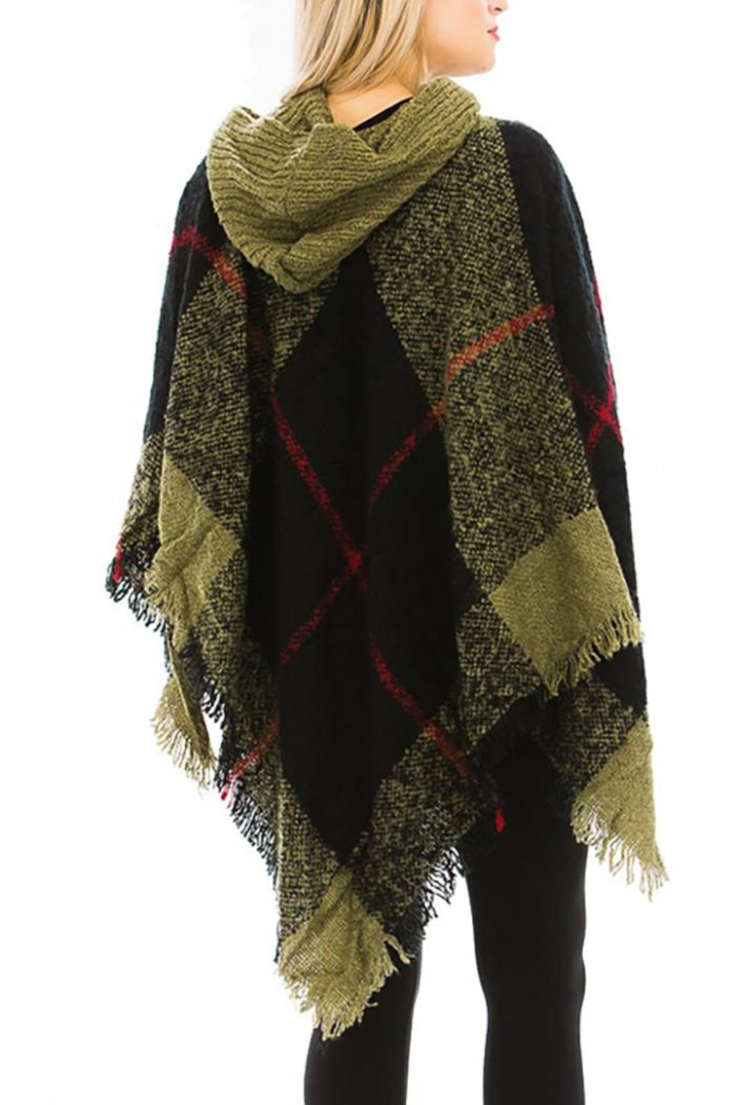 Nadya's Closet Plaid Pattern Thick Knitted With Hoodie Design Poncho - Front Full Image